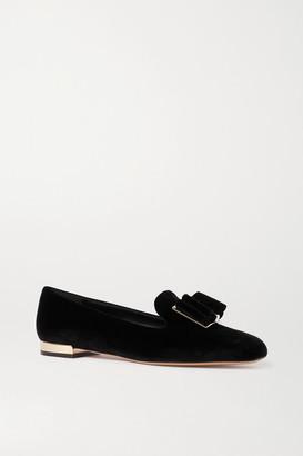 Salvatore Ferragamo Zaneta Bow-embellished Velvet Loafers - Black