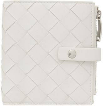 Bottega Veneta White Intrecciato Mini Bifold Wallet