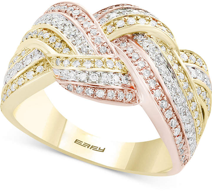 Effy Trio by Diamond Knot Ring (5/8 ct. t.w.) in 14k Gold, White Gold & Rose Gold