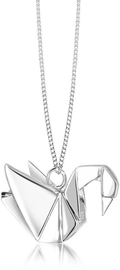 Origami Sterling Silver Swan Pendant Long Necklace