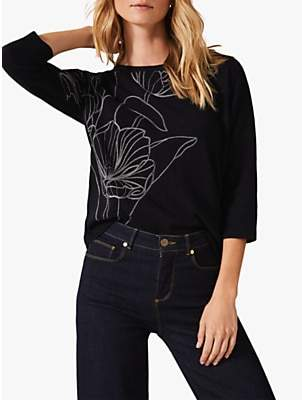 Phase Eight Emmy Floral Embroidery Jumper, Navy