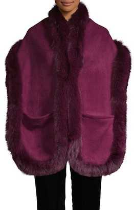 La Fiorentina Fox Fur-Trim Wool-Blend Wrap