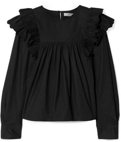 Etoile Isabel Marant Matias Ruffled Broderie Anglaise-trimmed Cotton-poplin Blouse - Black