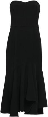 Halston Strapless Crepe Midi Dress