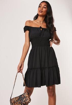 Missguided Black Shirred Waist Bardot Mini Dress