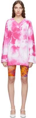 MSGM Pink Tie-Dye V-Neck Dress