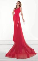 Tarik Ediz Asymmetrical Neck Sheath Gown 92823