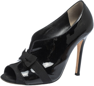 Dolce & Gabbana Black Patent And Grosgrain Bow Peep Toe Pumps Size 37.5