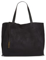 Street Level Reversible Textured Faux Leather Tote - Black