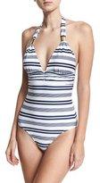 Heidi Klein Martha's Vineyard Striped Halter One-Piece Swimsuit, White/Blue Pattern
