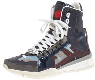 DSQUARED2 Multicolor Nubuck, Suede And Nylon Camo Kick It Logo 551 Sneakers Size 41