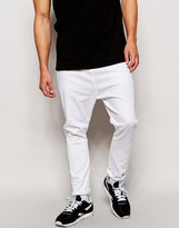Asos Drop Crotch Jeans In White