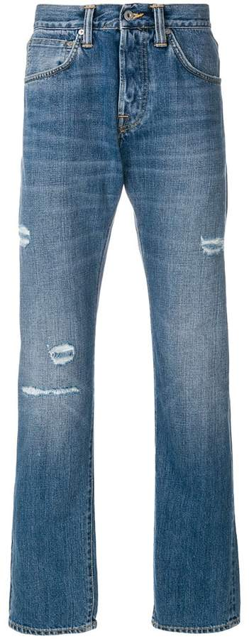 Edwin distressed straight jeans
