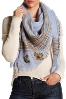 David & Young Patch Embroidered Blanket Wrap Scarf