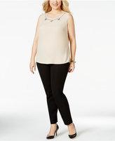 Kasper Plus Size Embellished Sleeveless Blouse