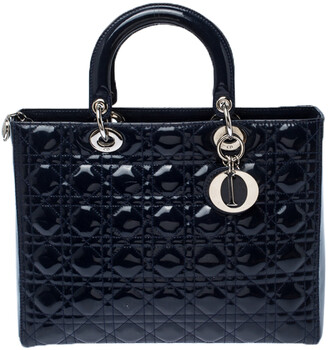 Christian Dior Navy Blue Cannage Patent Leather Large Lady Tote