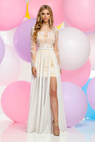Zoey Grey - Long Sleeves Chiffon Lace A-Line Gown 30814