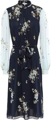 Joie Belted Floral-print Silk-georgette Dress