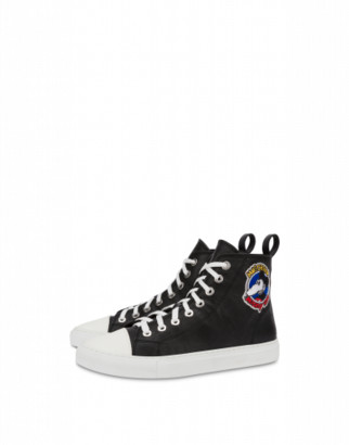 Moschino Mickey Rat High Sneakers Woman Black Size 35