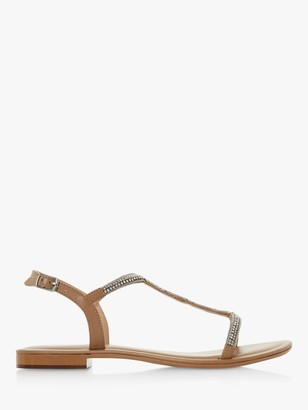 Dune Nettys Flat Leather Sandals, Tan