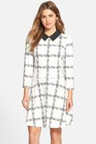 Eliza J Grid Print Ponte Fit & Flare Dress
