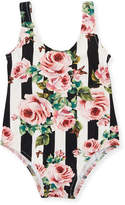 Dolce & Gabbana Stripe Floral One-Piece Swimsuit, Size 12-24 Months