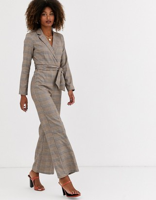 UNIQUE21 check tailored long sleeve jumpsuit