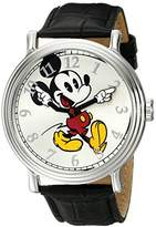 Disney Men's W001868 Mickey Mouse Silver-Tone Watch with Band