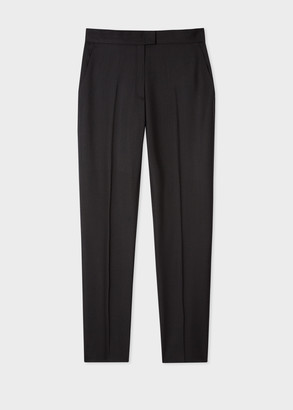 Paul Smith Women's Slim-Fit Black Wool-Hopsack Trousers