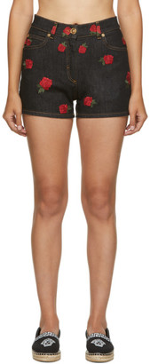 Versace Black Denim Rose Shorts