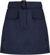 Valentino Belted cotton-twill mini skirt