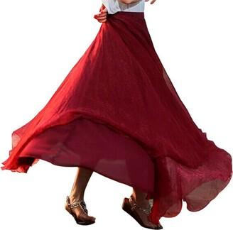 ESAILQ Skirt Women Elastic Waist Chiffon Long Maxi Beach Dress Girls Elasticated Gypsy Plain Printed Skirt UK Size 6 Full Length Stretchy Jersey Womens Bohemian Retro Hippie Belted Summer Black