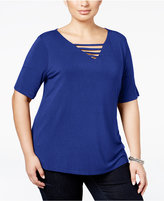 INC International Concepts Plus Size Cutout V-Neck T-Shirt, Only at Macy's