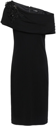 Badgley Mischka Off-the-shoulder Embellished Stretch-jersey Dress