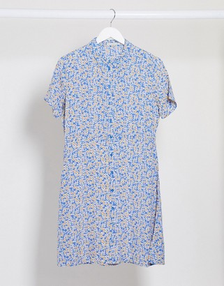 Pieces skater shirt dress in blue ditsy floral