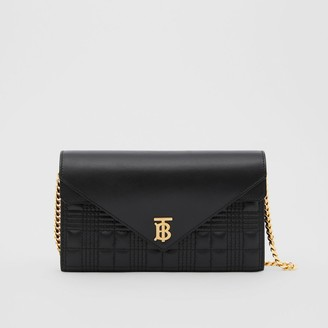 Burberry Quilted Lambskin Wallet with Detachable Chain Strap