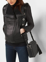 Michael Kors Knit-Collar Leather Jacket