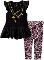 Juicy Couture Necklace Graphic Chiffon Bottom Tunic & Legging Set (Toddler Girls)