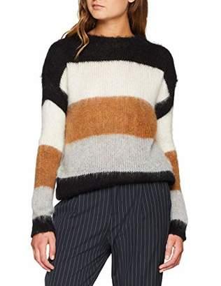 SPARKZ COPENHAGEN Women's Ramon Striped Pullover Jumper, Black 099, 10 (Size:M)