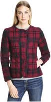Joe Fresh Women's Quilted Plaid Jacket, Dark Khaki Green (Size M)