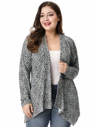 Allegra K Women's Plus Size Leopard Print Asymmetric Open Front Fashion Cardigan 2X Grey