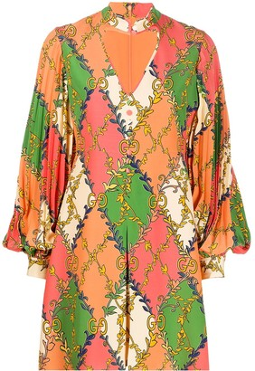 Gucci GG diamond print silk dress