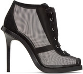 Versus Black Mesh & Suede Lace-Up Boots