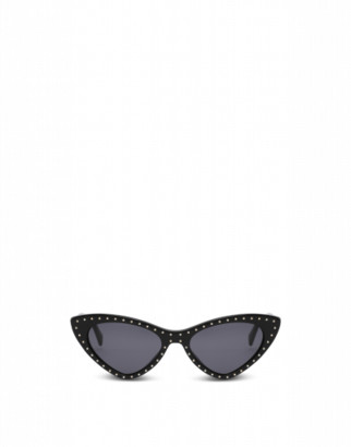 Moschino Cat Eye Sunglasses With Micro Studs Woman Black Size Single Size