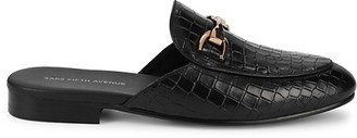 Saks Fifth Avenue Rupert Croc-Embossed Leather Mules