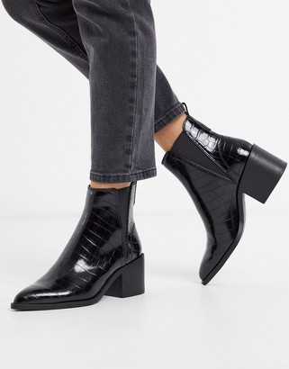 Steve Madden Audience heeled ankle boots in black croc