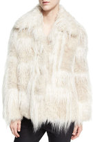 Helmut Lang Two-Tone Faux-Fur Jacket, Cream