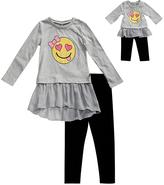 Dollie & Me Gray Emoji Ruffle Tunic Set & Doll Outfit - Girls