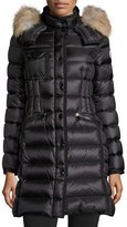 Moncler Hermifur Snap-Front Puffer Coat, Black