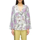 Etro Shirt Long Silk Shirt With Paisley And Rouches Print